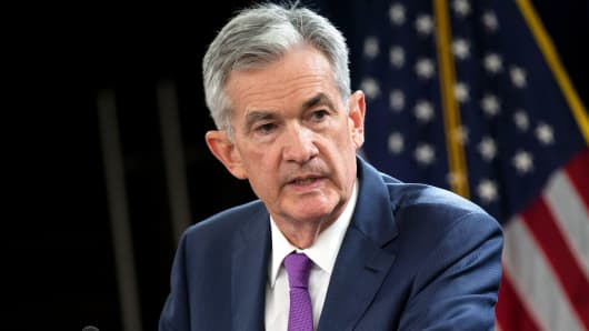 Federal Reserve Chairman Jerome Powell holds a news conference following a two-day Federal Open Market Committee (FOMC) policy meeting in Washington, September 26, 2018.