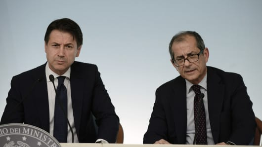 ROME, ITALY - JULY 24: Prime Minister Giuseppe Conte and the Minister of Economy Giovanni Tria attend a press conference in Palazzo Chigi.