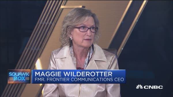 Women that wind up in leadership roles in Fortune 500 companies because the company is in trouble, says Maggie Wilderotter