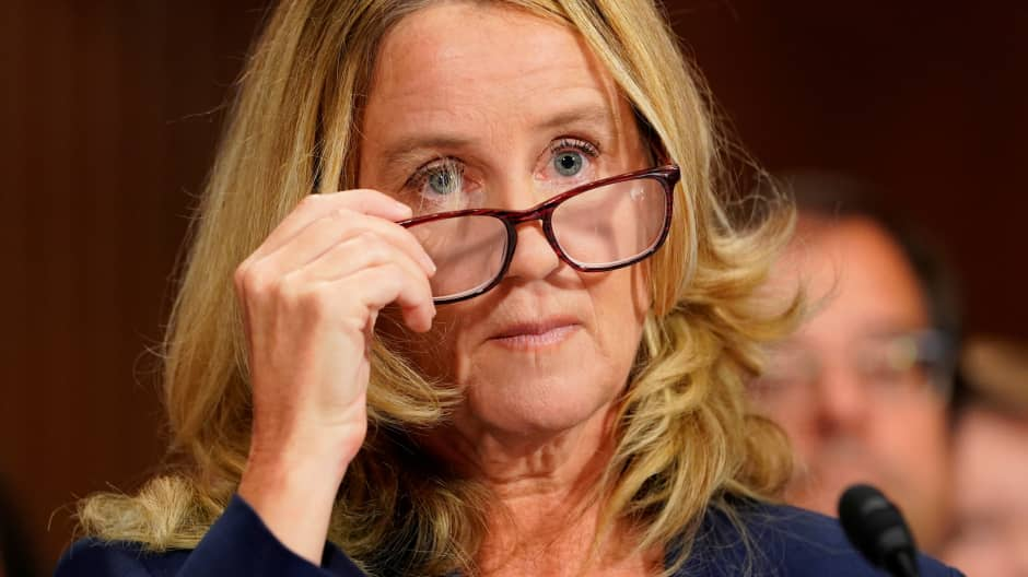 Christine Blasey Ford testifies in front of the Senate Judiciary Committee confirmation hearing on Capitol Hill in Washington, D.C., U.S., September 27, 2018.