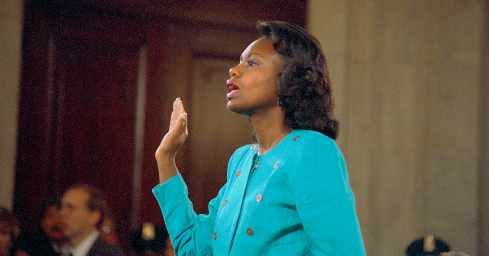 Professor Anita Hill is sworn-in before testifying at the Senate Judiciary hearing on the Clarence Thomas Supreme Court nomination. Miss Hill testified on her charges of alleged sexual harassment by Judge Thomas.