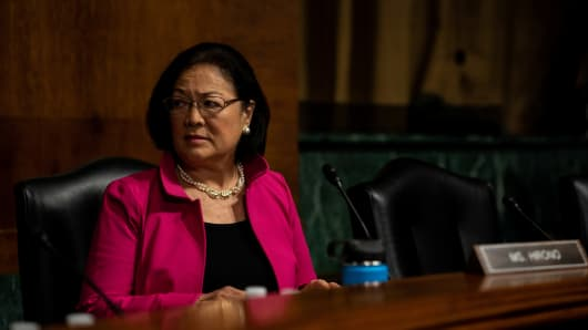 Senator Mazie Hirono attends a Senate Judiciary Committee hearing for Christine Blasey Ford to testify about sexual assault allegations against Supreme Court nominee Judge Brett M. Kavanaugh on Capitol Hill in Washington, U.S., September 27, 2018.