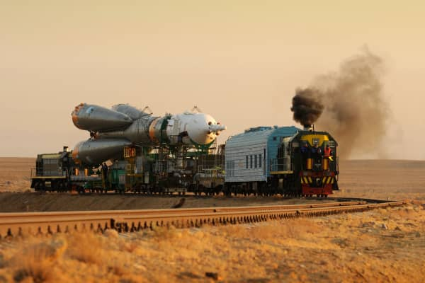 The Russian Soyuz being transported for launch day.