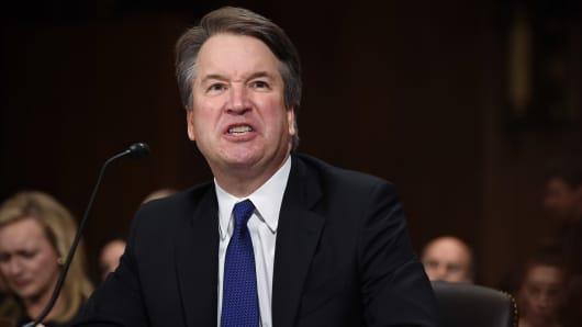 Supreme Court nominee Judge Brett Kavanaugh testifies before the US Senate Judiciary Committee in the Dirksen Senate Office Building on Capitol Hill September 27, 2018 in Washington, DC.