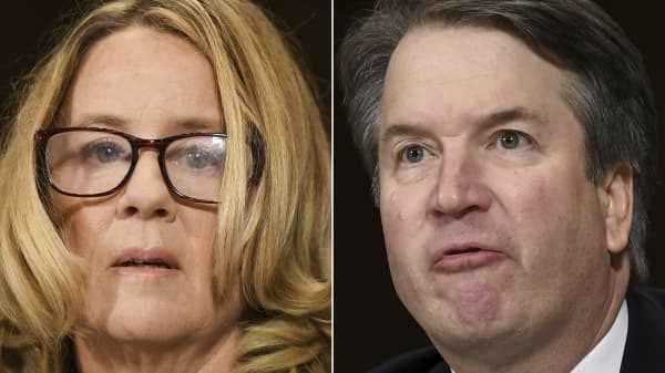 (This combination of pictures shows Dr. Christine Blasey Ford, the woman accusing Supreme Court nominee Brett Kavanaugh (R) of sexually assaulting her at a party 36 years ago, during testimony during Kavanaugh's US Senate Judiciary Committee confirmation hearing on Capitol Hill in Washington, DC, September 27, 2018.