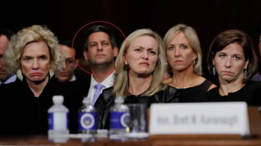 Facebook policy head Joel Kaplan (circled) listens to testimony of Brett Kavanaugh before a Senate Judiciary Committee confirmation hearing on Capitol Hill in Washington, U.S., September 27, 2018.