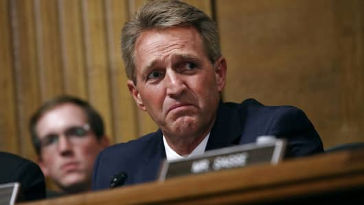 Senate Judiciary Committee member Sen. Jeff Flake (R-AZ) questions Judge Brett Kavanaugh during his Supreme Court confirmation hearing in the Dirksen Senate Office Building on Capitol Hill September 27, 2018 in Washington, DC.