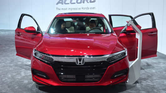 The all-new 2018 Honda Accord is displayed at the 2017 LA Auto Show in Los Angeles.