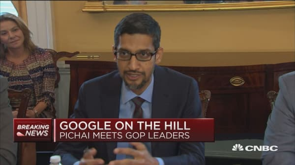 Google's Pichai and GOP leader McCarthy speak on Capitol Hill