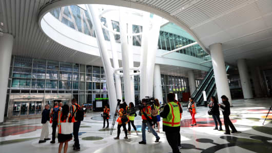 Chief architect of the new $2.26 billion Transbay Transit Center, Fred Clarke, far left, leads a press tour through the Grand Hall of the project in downtown San Francisco, Calif., on Wednesday, Aug. 8, 2018. The facility opens to the public next week.  (Karl Mondon/Bay Area News Group via Getty Images)