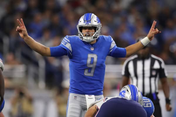 Matthew Stafford #9 of the Detroit Lions calls a signal while playing the New England Patriots at Ford Field on September 23, 2018 in Detroit, Michigan