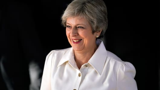 British Prime Minister Theresa May attends day two of the annual Conservative Party Conference on October 1, 2018 in Birmingham, England.