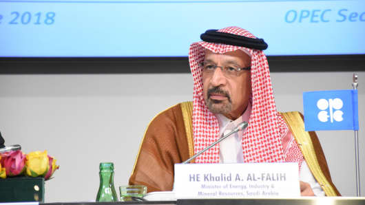 Saudi Arabian Energy Minister Khalid Al Falih, attends a news conference after a meeting of the 4th Organisation of Petroleum Exporting Countries (OPEC) and non-OPEC Ministerial Meeting in Vienna, Austria ob June 23, 2018.