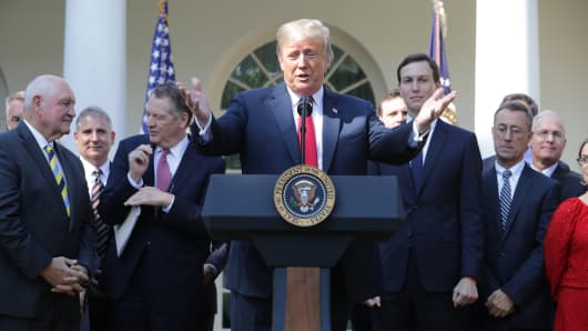 President Donald Trump speaks during a press conference to discuss a revised U.S. trade agreement with Mexico and Canada in the Rose Garden of the White House on October 1, 2018 in Washington, DC. U.S. and Canadian officials announced late Sunday night that a new deal, named the 'U.S.-Mexico-Canada Agreement,' or USMCA, had been reached to replace the 24-year-old North American Free Trade Agreement.