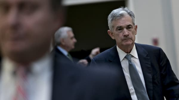 Jerome Powell, chairman of the U.S. Federal Reserve, exits after speaking during Senator Jack Reed's Rhode Island Business Leaders Day event on Capitol Hill in Washington, D.C., U.S., on Thursday, Sept. 27, 2018.