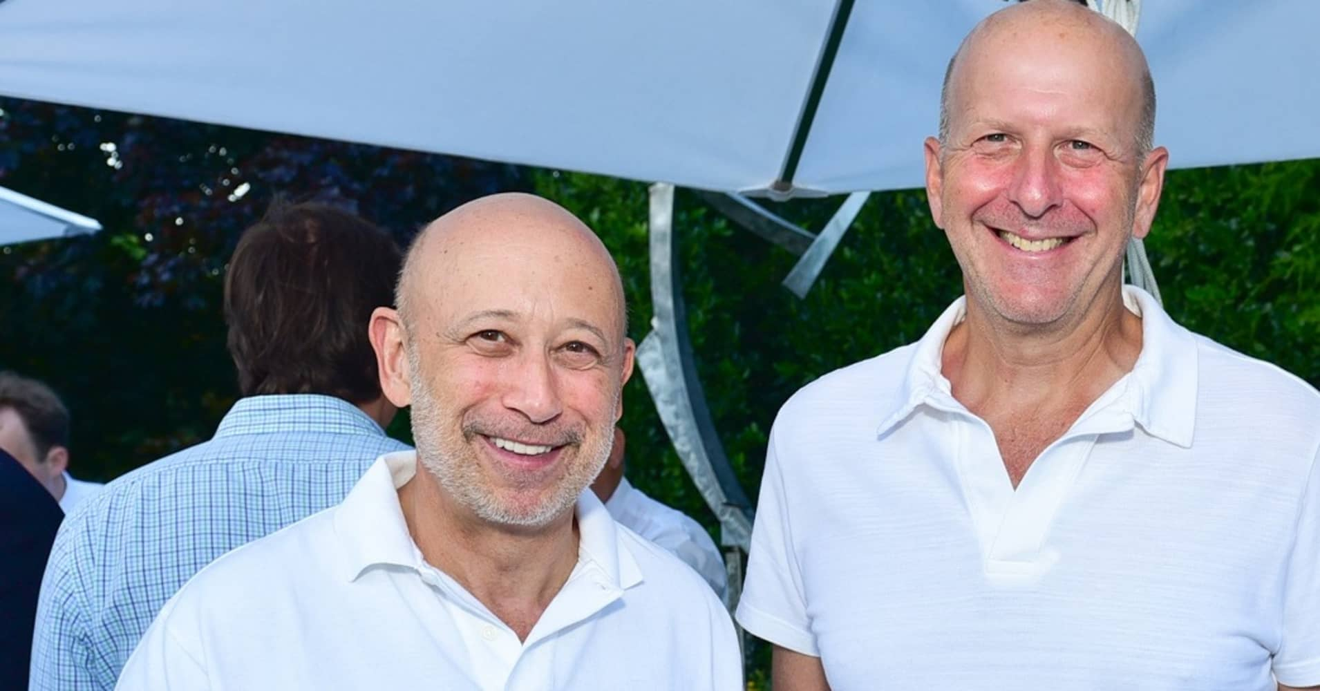 (L-R) Lloyd Blankfein and David Solomon attend NYSCF Annual Summer Cocktail Reception at Private Residence on July 15, 2016 in Sagaponack, NY.