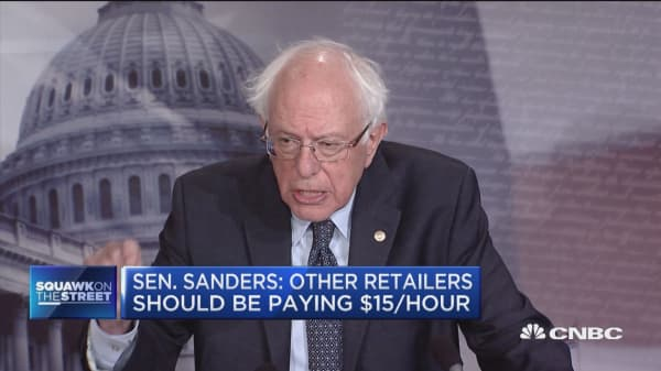 Sen. Sanders: Other retailers should be paying $15 per hour