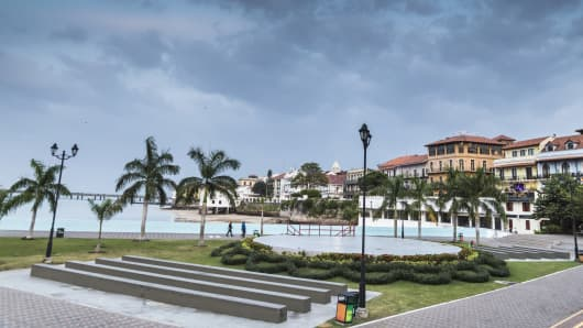 Panoramic view of a park in Panama City and older apartment buildings of the Old Quarter called Casco Viejo.