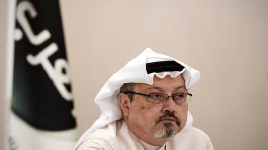 Saudi dissident Jamal Khashoggi during a press conference in the Bahraini capital Manama, on December 15, 2014.