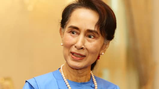 Myanmar State Counselor Aung San Suu Kyi in Singapore on August 21, 2018.