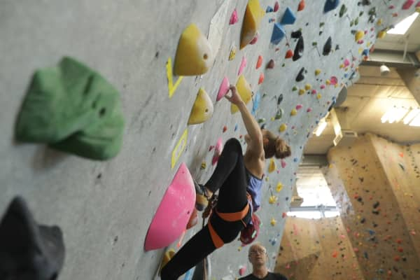 Margo Hayes training at Movement Climbing and Fitness in Boulder, Colorado.