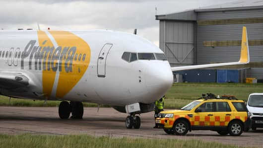 A Primera plane at Stansted Airport, the Danish discount airline has ceased operations ahead of filling for bankruptcy and passengers have been warned not to turn up for flights.