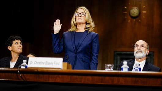Christine Blasey Ford swears in at a Senate Judiciary Committee hearing in on Capitol Hill September 27, 2018 in Washington, DC.