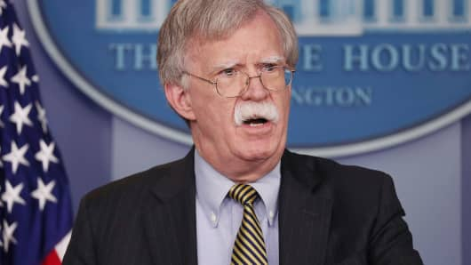 National Security Advisor John Bolton speaks to reporters as he announces that the U.S. will pull out of a treaty with Iran during a news conference in the White House briefing room in Washington, October 3, 2018.