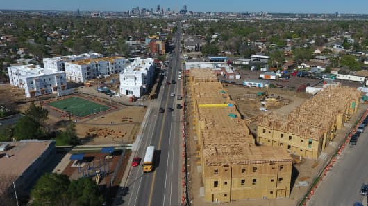New apartment buildings are being built along Morrison Road, in the Westwood neighborhood, in Denver, Colorado.
