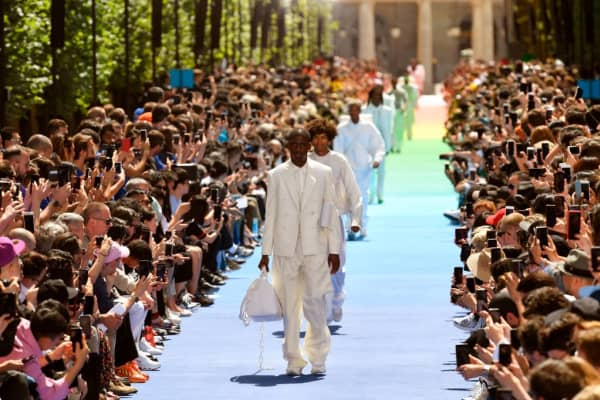 Models on the runway at Louis Vuitton's menswear fashion show at Paris Fashion week, June 2018
