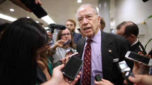 Senate Judiciary Committee Chairman Chuck Grassley (R-IA) talks with reporters as he heads for a meeting at the U.S. Capitol October 02, 2018 in Washington, DC.