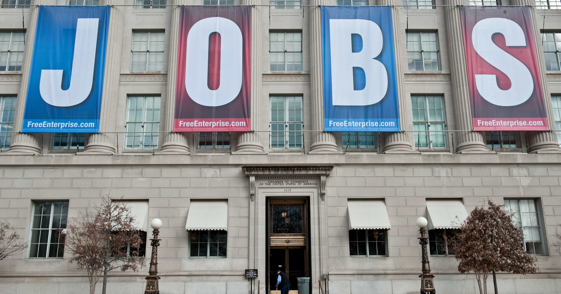 A banner reading 'Jobs' hangs on thre facade of the US Chamber of Commerce in Washington, DC.