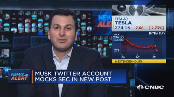 Tesla falls on new post from Elon Musk's Twitter account mocking the SEC
