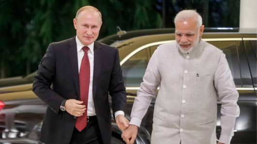 OCT 4, 2018: Russia's President Vladimir Putin and India's Prime Minister Narendra Modi meet for talks in New Dellhi.