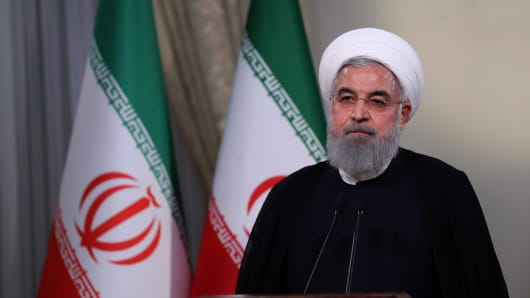 Iranian President Hassan Rouhani holds a press conference on Trump's withdrawal decision from Iran nuclear deal in Tehran, Iran on May 8, 2018.