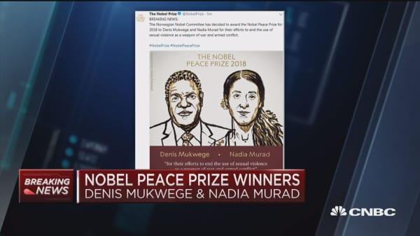 Nobel Peace Prize awarded to Denis Mukwege and Nadia Murad