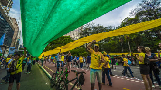 View of a demonstration in support of Brazilian right-wing presidential candidate Jair Bolsonaro at Paulista Avenue, in Sao Paulo, Brazil on September 30, 2018.