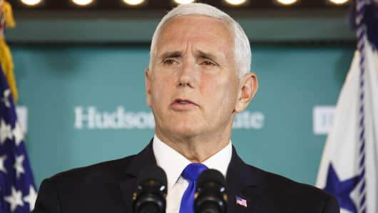Vice President Mike Pence speaks at the Hudson Institute in Washington, D.C., U.S., on Thursday, Oct. 4, 2018. Pence laid out allegations of Chinese election interference in a harshly worded speech Thursday, signaling a firmer U.S. pushback against Beijing as trade anxiety weighs on the looming midterm congressional elections.