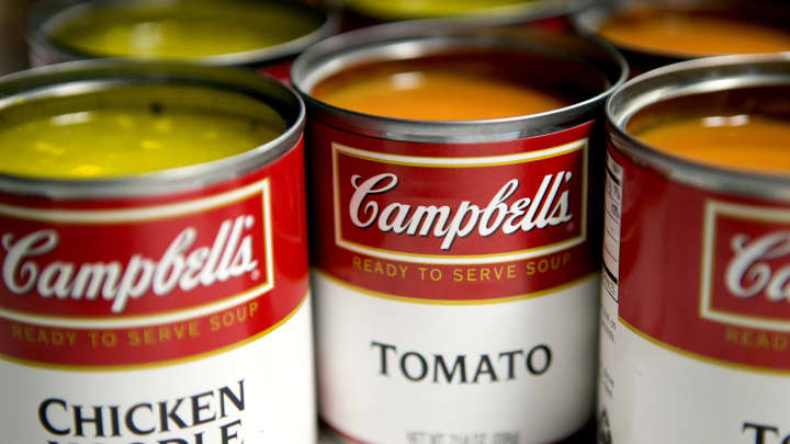 Cans of Campbell Soup Co. Campbell's chicken noodle and tomato soup.