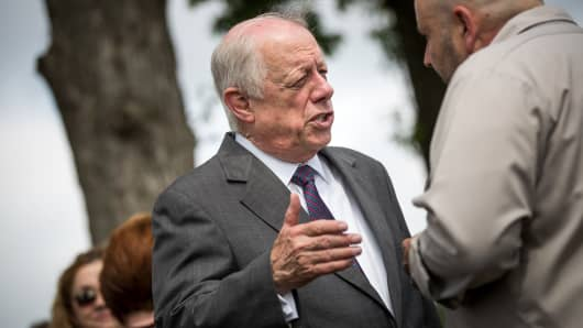 Democratic candidate for U.S. Senate and former governor of Tennessee Phil Bredesen speaks with guests at a groundbreaking event for a new Tyson Foods chicken processing plant, May 30, 2018 in Humboldt, Tennessee.