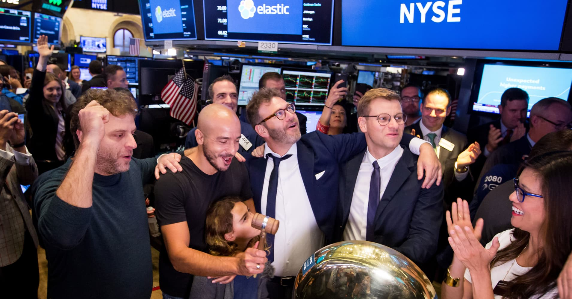 Search company Elastic nearly doubles on first trading day