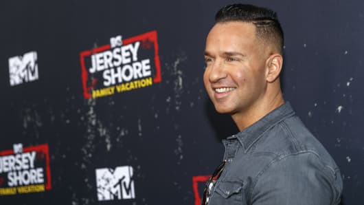 Television personality Mike Sorrentino arrives at the 'Jersey Shore Family Vacation' Premiere Party at Hyde Sunset Kitchen + Cocktails on March 29, 2018 in West Hollywood, California.