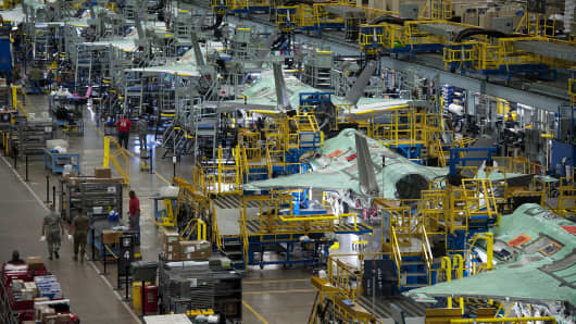 The F-35 Lightning II production line at Lockheed Martin's facility in Fort Worth, Texas.