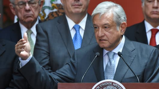 President Elect Andres Manuel Lopez Obrador speaks during a press conference at Palacio Nacional on August 20, 2018 in Mexico City, Mexico. Obrador met with President Pena Nieto to discuss the transition between them.
