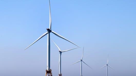 The Block Island Wind Farm, located off the coast of Block Island, RI, is pictured on Jun. 13, 2017.