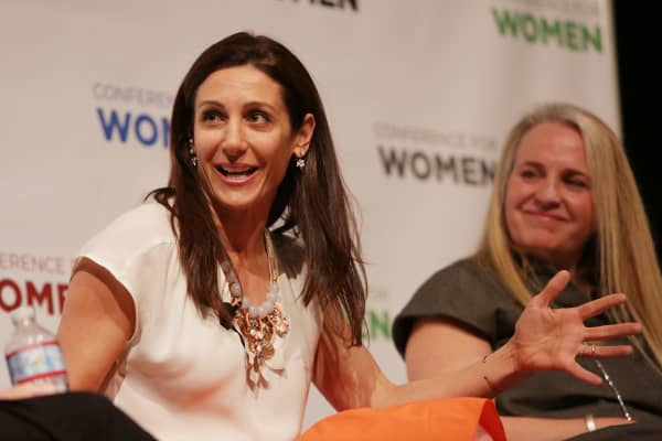 Founder and CEO of Stella & Dot Jessica Herrin (left) speaks on a panel about overcoming gender bias.