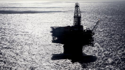An offshore oil platform in the Gulf of Mexico.