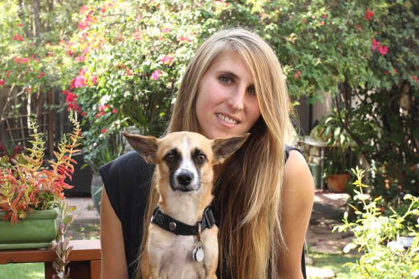 Hyla Frank with her dog, Ollie.