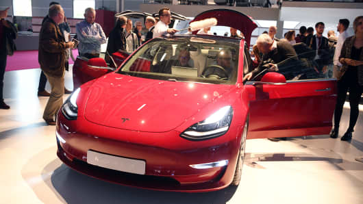 A Tesla Model 3 at the Paris International Motor, October 2, 2018.