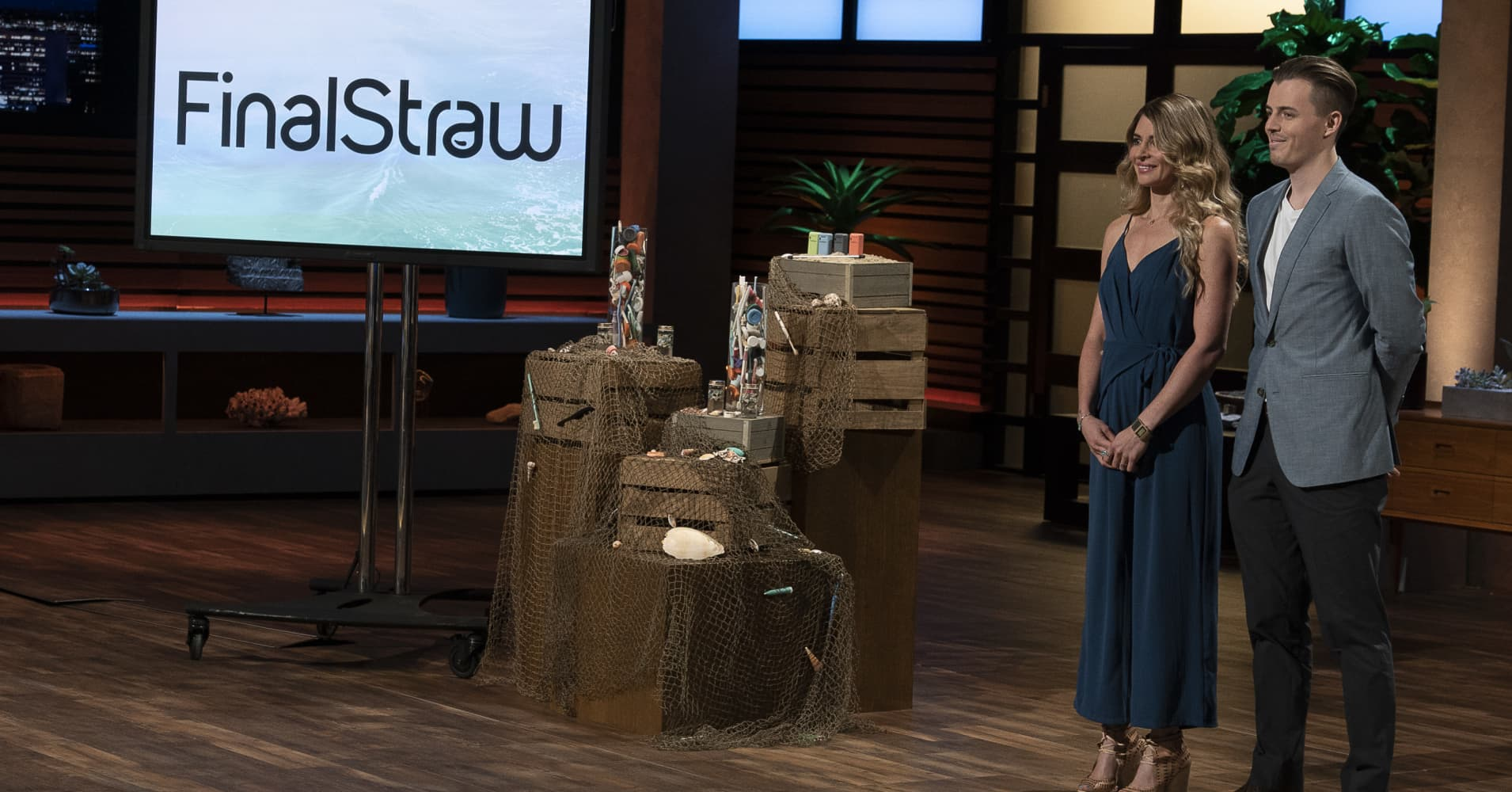 "FinalStraw founders Emma Rose Cohen and Miles Pepper pitch on ABC's ""Shark Tank."""